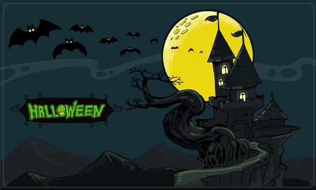Castello di notte buio con la luna piena gialla