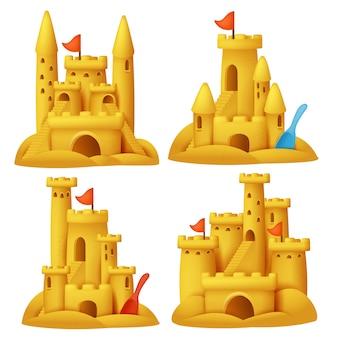 Castello di sabbia in stile cartoon set. collezione vacanza. oggetti 3d.