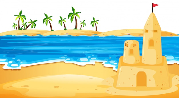 Castello di sabbia nell'illustrazione di scena della spiaggia
