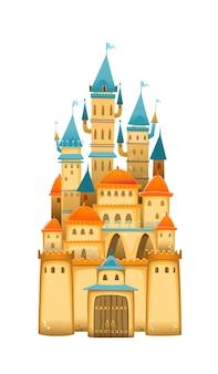 Castello di simpatico cartone animato. fairytale cartoon castle. palazzo di fiaba di fantasia con arcobaleno. illustrazione