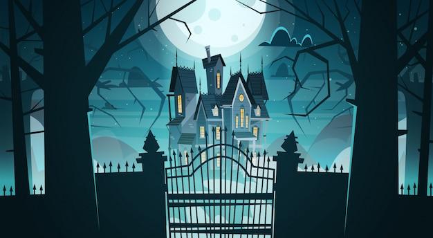 Castello gotico dietro i cancelli al chiaro di luna spaventoso, concetto di halloween