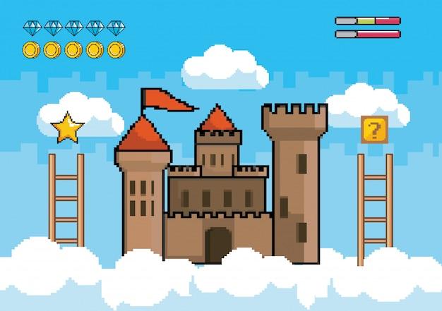Castello in aria con scale e diamanti con barre di monete