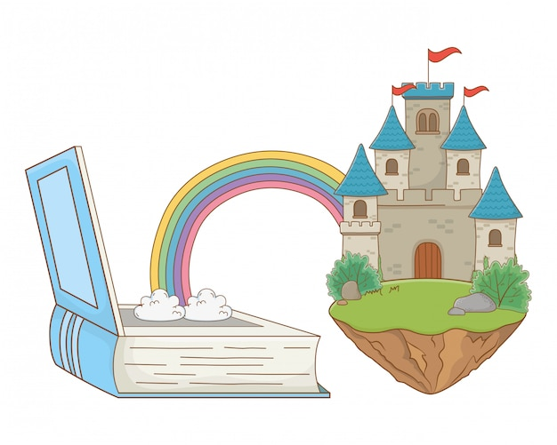 Castello isolato con l'illustrazione di vettore di progettazione degli stendardi