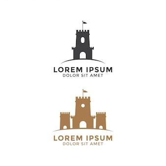 Castello logo design modello vettoriale elemento