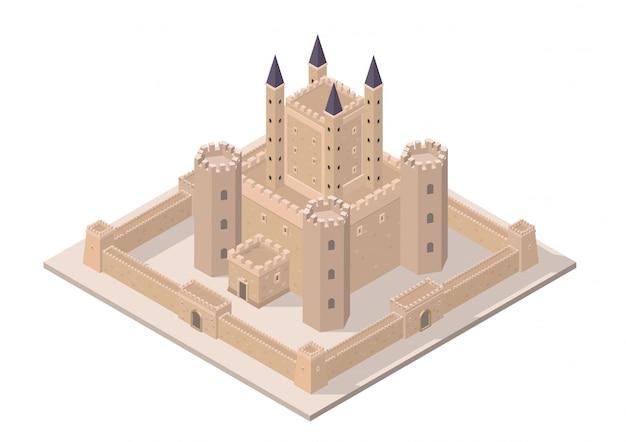 Castello medievale isometrico di vettore