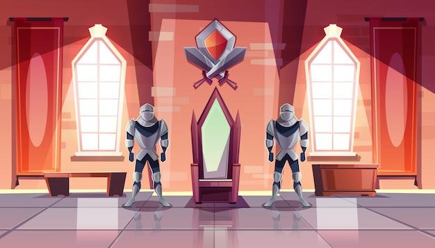 Castello medievale sala del trono o sala da ballo interno con cavalieri in armatura su entrambi i lati del re
