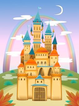 Castello simpatico cartone animato. castello dei cartoni animati di fairytale. palazzo delle fiabe fantasy. illustrazione.