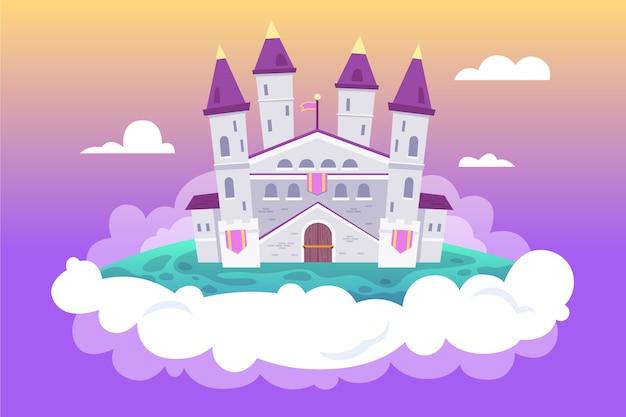 Castello sul concetto di fiaba delle nuvole