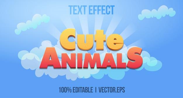 Casual simpatici animali 3d grassetto gioco effetto testo stile grafico strato stile carattere stayle