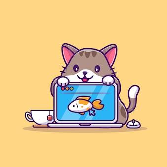 Cat and laptop cartoon icon illustration sveglia. concetto dell'icona di tecnologia animale isolato. stile cartone animato piatto