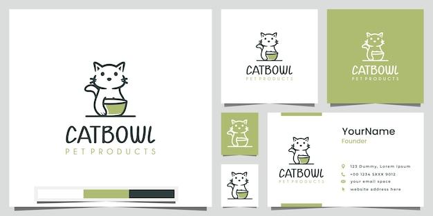 Cat bowl pet products logo design ispirazione