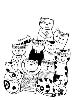 Cat characters set style doodles colorazione illustrazione per bambini