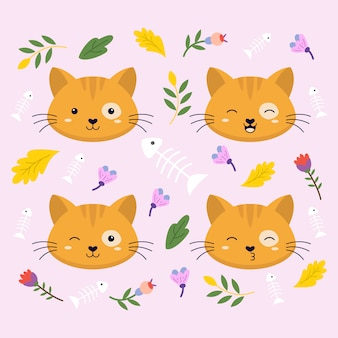 Cat face expression cute vector illustration