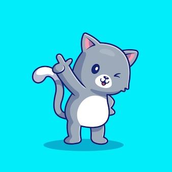 Cat pointing cartoon icon illustration sveglia. icona animale concetto isolato premium. stile cartone animato piatto