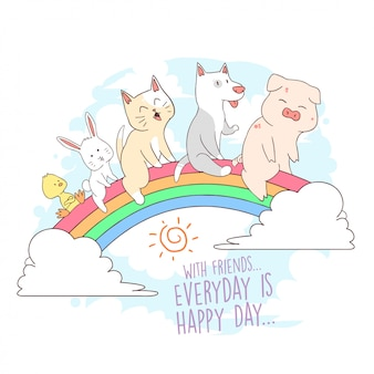 Cat rainbow a colori