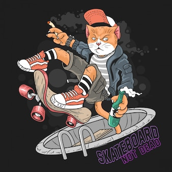 Cat skateboard pop punk