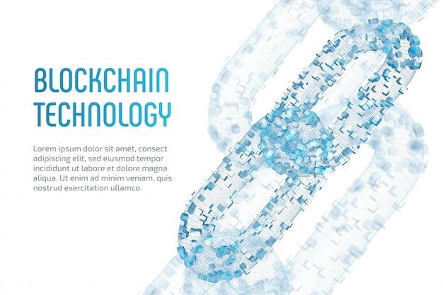 Catena a blocchi. criptovaluta. concetto di blockchain. catena wireframe 3d con blocchi digitali. modello di criptovaluta modificabile. azione