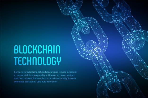 Catena a blocchi. criptovaluta. concetto di blockchain. catena wireframe 3d con codice digitale. modello di criptovaluta modificabile. illustrazione vettoriale d'archivio