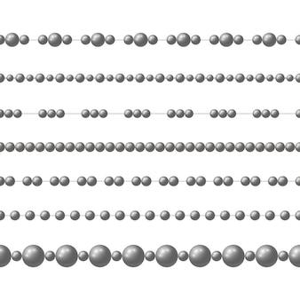 Catena di perline di acciaio realistico grigio.