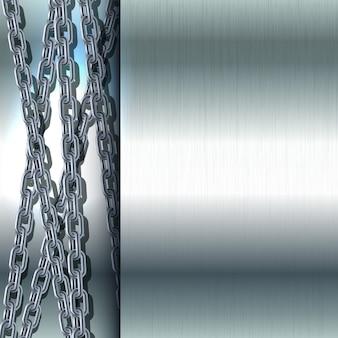 Catena in acciaio inox su sfondo metallico illustrazione di struttura in acciaio lucido