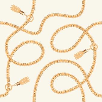 Catene d'oro con motivo senza cuciture di nappe