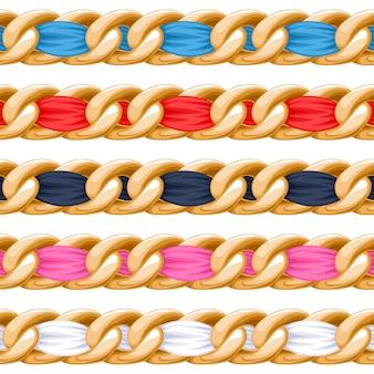 Catene dorate con spazzola a nastro in tessuto filettato colorato. buono per collana, braccialetto, accessorio di gioielli.