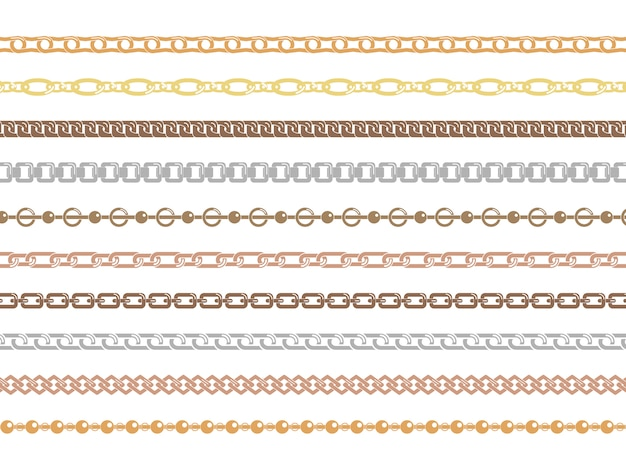Catene verticali e orizzontali in argento e oro di varie forme e spessori di ornamento. set di catene colorate isolato su sfondo bianco.