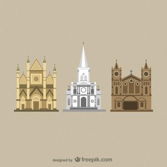 Cattedrali piatti vettori