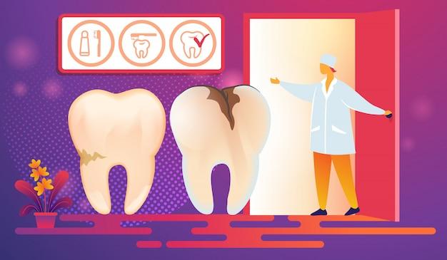 Cattivi denti con carie caries vieni procedura.