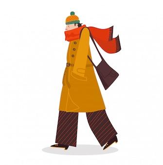 Cattivo tempo maschio di autunno della passeggiata del carattere, condizione meteorologica di caduta fredda su bianco, illustrazione. l'uomo indossa abiti caldi.