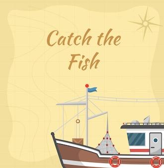 Cattura l'illustrazione del pesce con la piccola barca commerciale