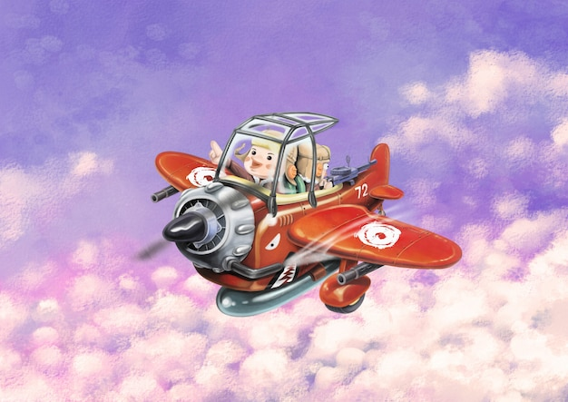 Cavalcando un aereo rosso vola nel cielo due aviatori