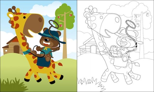 Cavalcata di cartone animato simpatico orso sulla giraffa divertente