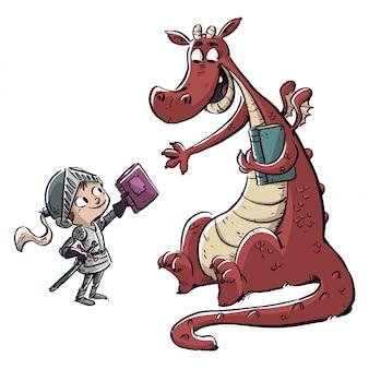 Cavaliere bambino con drago e libro