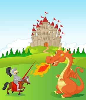 Cavaliere di cartone animato con feroce drago