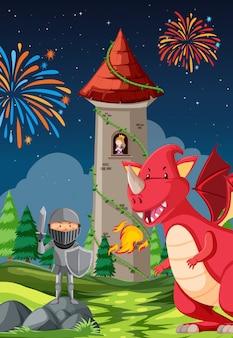 Cavaliere in lotta con un drago e una principessa in una torre