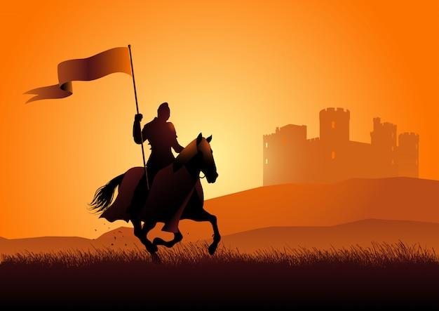 Cavaliere medievale a cavallo portando una bandiera