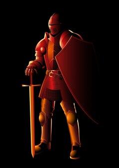 Cavaliere medievale in armatura completa