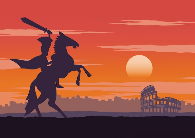 Cavaliere sul cavallo vicino al colosseo