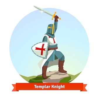 Cavaliere templare in armatura con scudo e spada