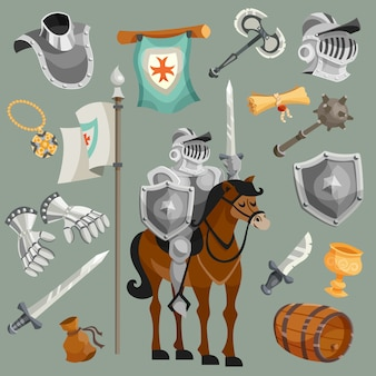 Cavalieri cartoon set