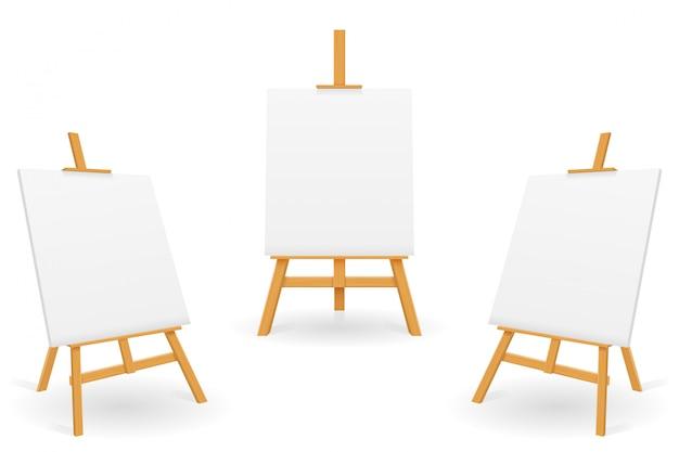 Cavalletto in legno per dipingere e disegnare con un foglio di carta bianco modello