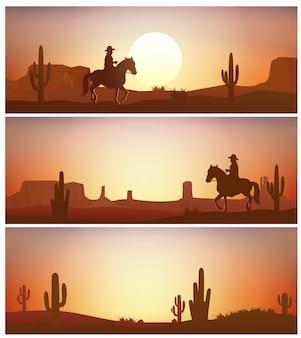 Cavallo da equitazione del cowboy contro la priorità bassa di tramonto