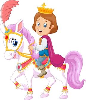 Cavallo da equitazione del principe isolato su fondo bianco