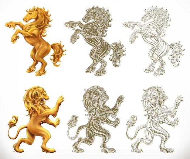 Cavallo e leone. stili 2d e incisione.
