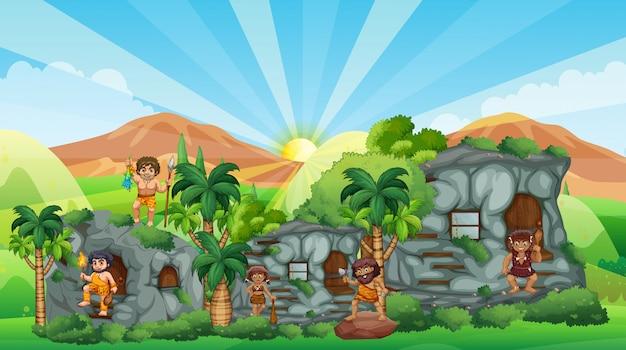 Caverna gente che vive in casa di pietra