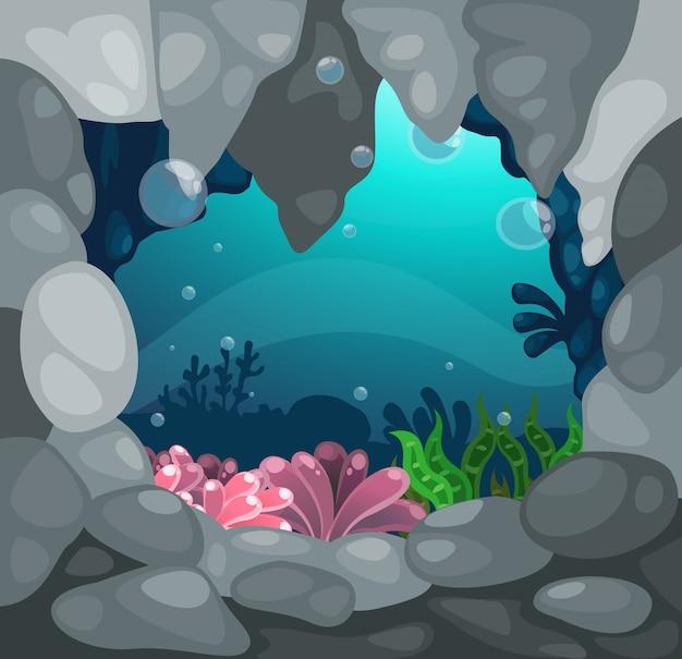 Caverna sotto il vettore del fondo del mare