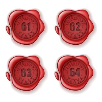 Celebrando il sigillo di cera biglietto d'auguri 61-64 anni