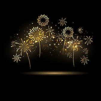 Celebrazione con nastri d'oro di fuochi d'artificio. biglietto di auguri ricco di lusso.