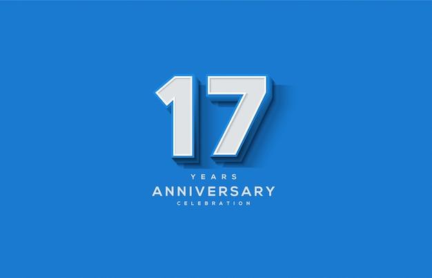 Celebrazione del 17 ° anniversario con numeri bianchi 3d su sfondo blu.
